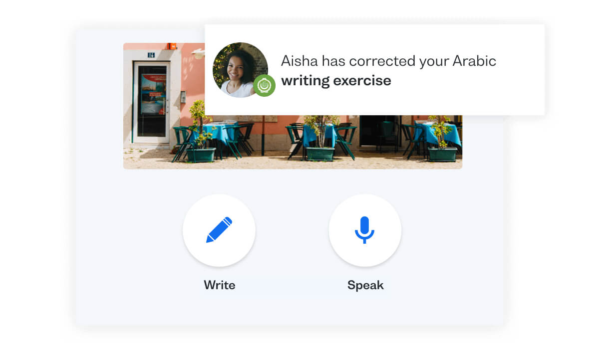 Practise your Arabic speaking skills with Busuu's Conversation feature