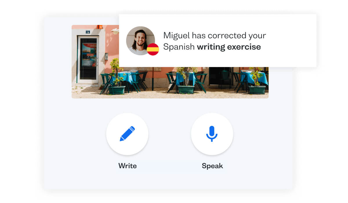 Get Spanish speaking practice online with Busuu's Conversation app feature