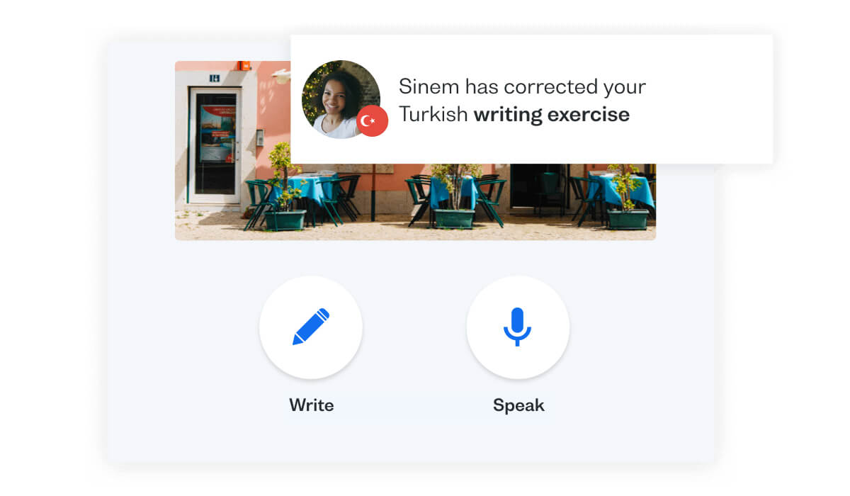 Get Turkish speaking practice with Busuu's Conversation feature